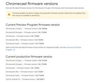 update chromecast apps