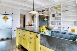 Charcoal Gray and Blue Soapstone Countertop Presents Rustic Charm