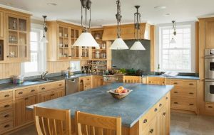 Oak Cabinets Paired With Soapstone Countertops