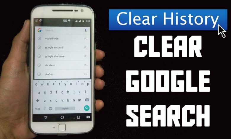 how to erase google search history on android phone