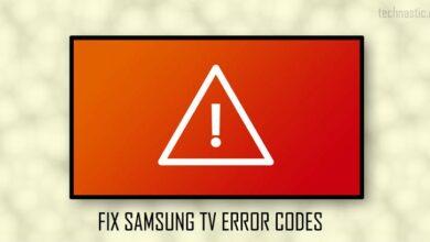 samsung tv error codes list