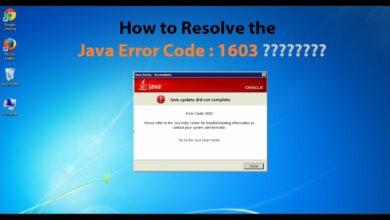 java update error 1603